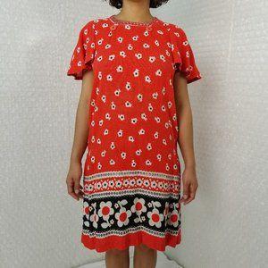 VTG 60s/70s hand made floral flutter sleeve dress
